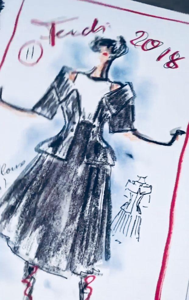 5e5a0709f859 Fendi Spring 2018 Sketch by Karl Lagerfeld