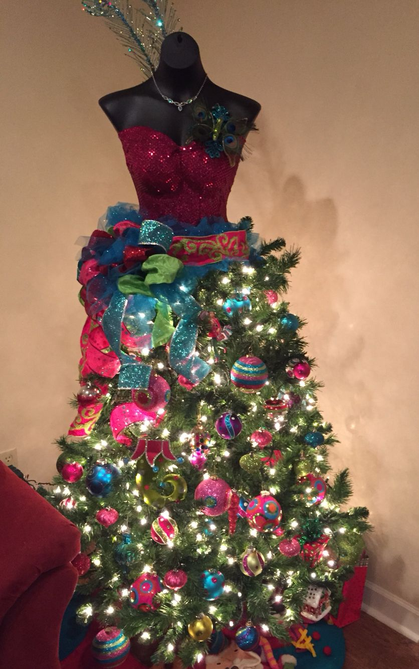 Christmas Tree Decorated Using A Dress Form Bust Form Let Ur Personality Shine Merry Christmas Tree Dress Christmas Fancy Dress Dress Form Christmas Tree