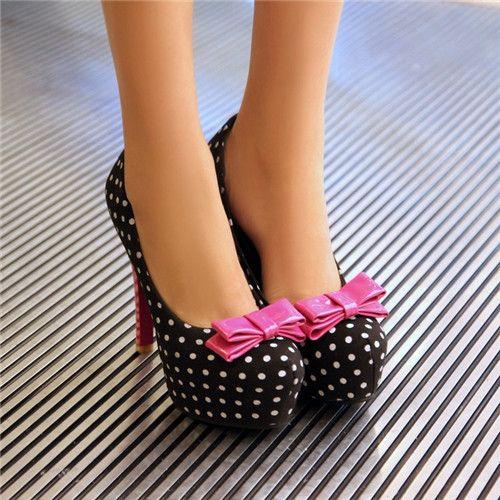 cute fashion Womens faux Suede polka dots Platform high heels shoes pink  bowtie shoes pumps Plus Size black white sapatos femininos 2015 fashion
