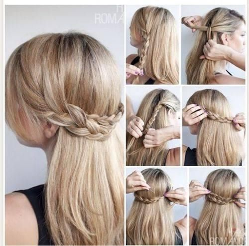 Half Up Have Down Braided Hairstyle How To Fashion Hair Diy Braid Updo Step