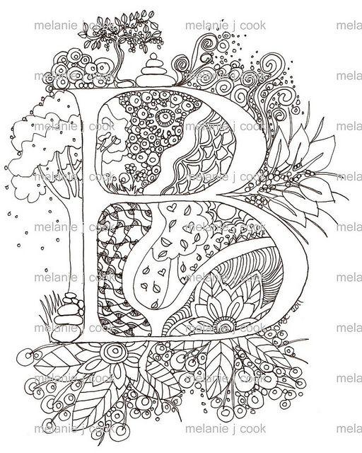 B Watermarked Zentangle Patterns Alphabet Art Illuminated Letters