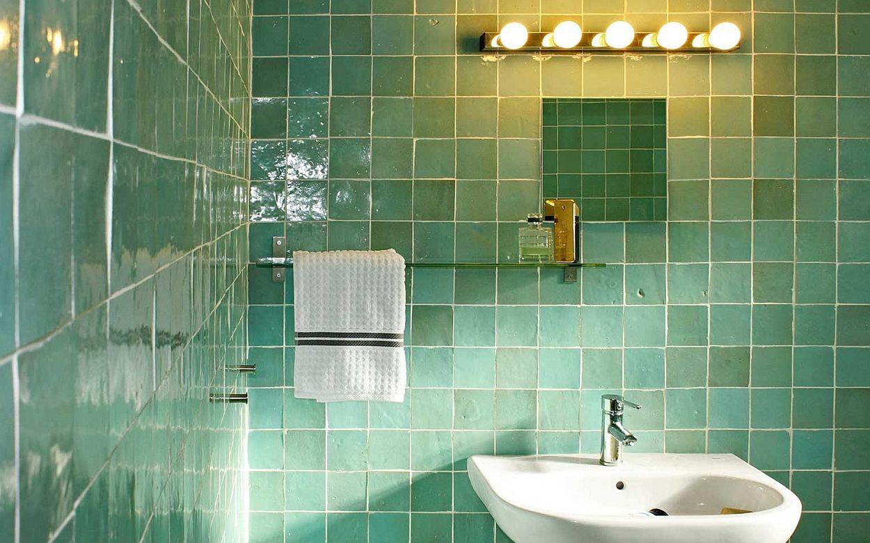 Groene zelliges badkamerwand tegels pinterest turkoois met en tips - Badkamer turkoois ...