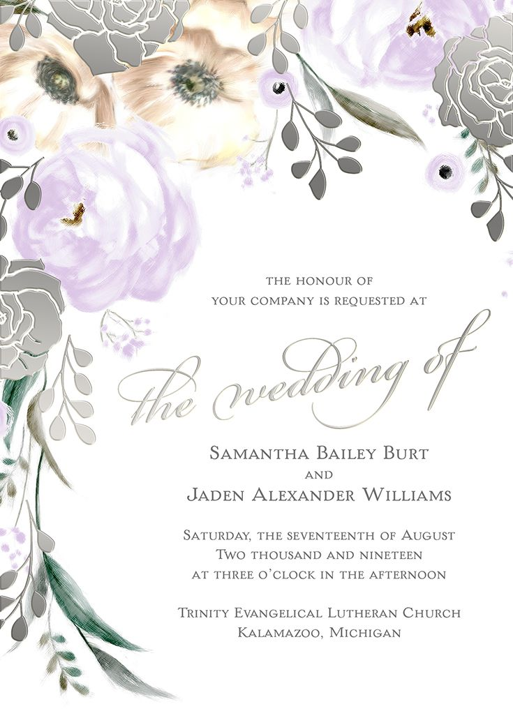 Watercolor Garden Rose Wedding Invitation With Silver Foil Stamping From The David Tutera Collection