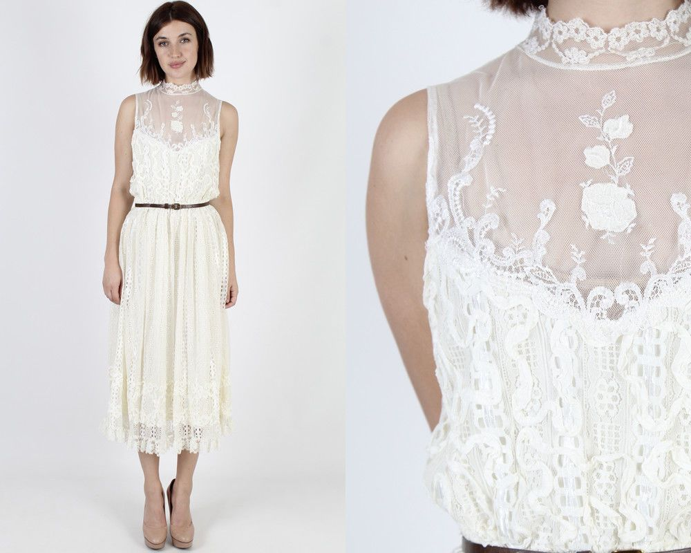 Vintage s boho wedding sheer ivory lace deco cocktail party midi