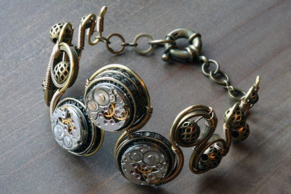Steampunk Jewelry   Bracelet with Antique by CatherinetteRings