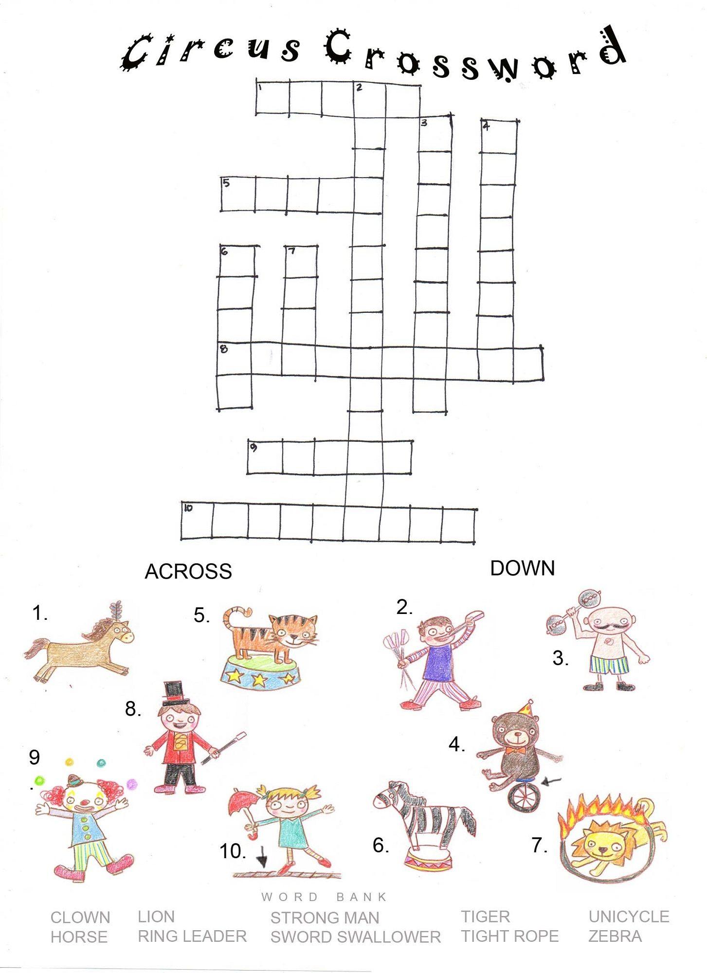 Printable Crossword Puzzles Kids