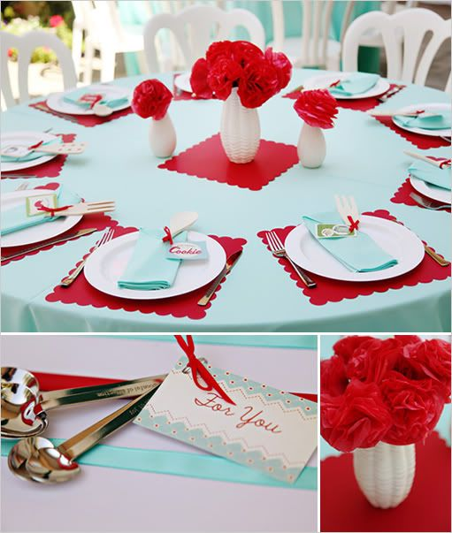 Love this color combo for Summer table settings or reception – Tiffany Blue and Red Wedding Invitations