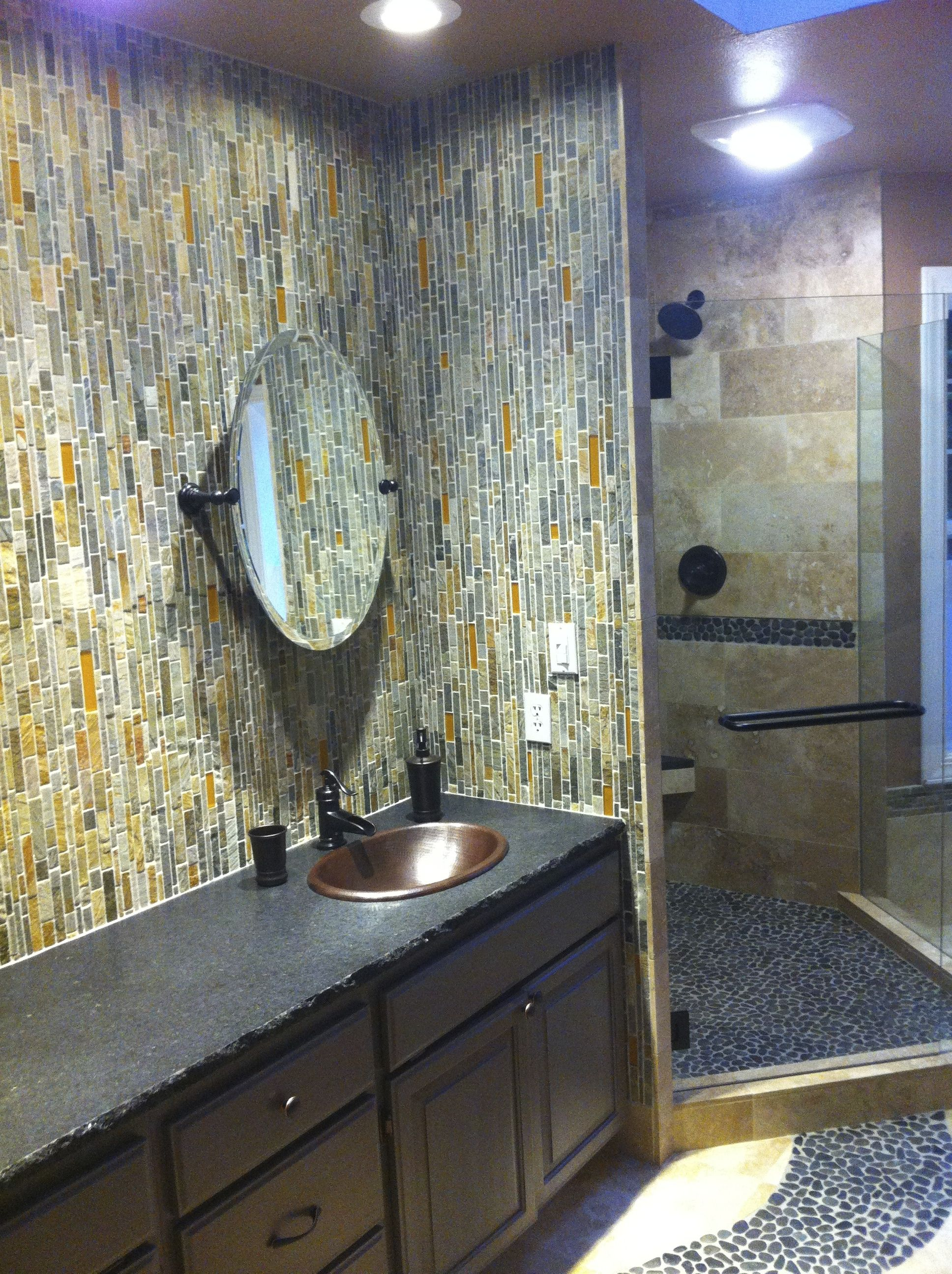 Natural stone tile shower with river rock floor and slate mosaic natural stone tile shower with river rock floor and slate mosaic backsplash dailygadgetfo Gallery