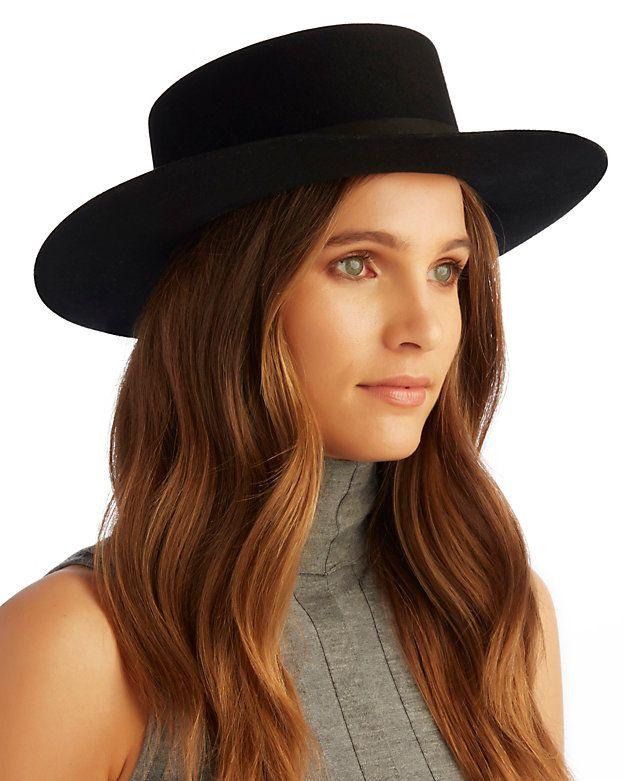 Janessa Leone Gabrielle Felt Boater Hat  Black  41af0996905