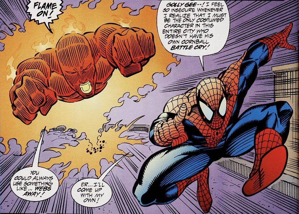 The Human Torch In Spider Man Unlimited Vol 1 5 Art By Ron Lim John Sanders Iii John Kalisz In 2020 Spiderman Comic Books Art Human Torch
