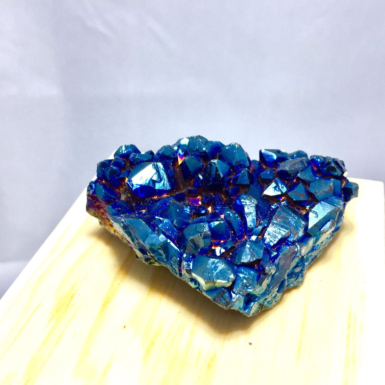 Cobalt Blue Crystal Flame Aura Quartz Cluster/Medium Magical Heart Healing Kid Science Educational Gift Stone 88g