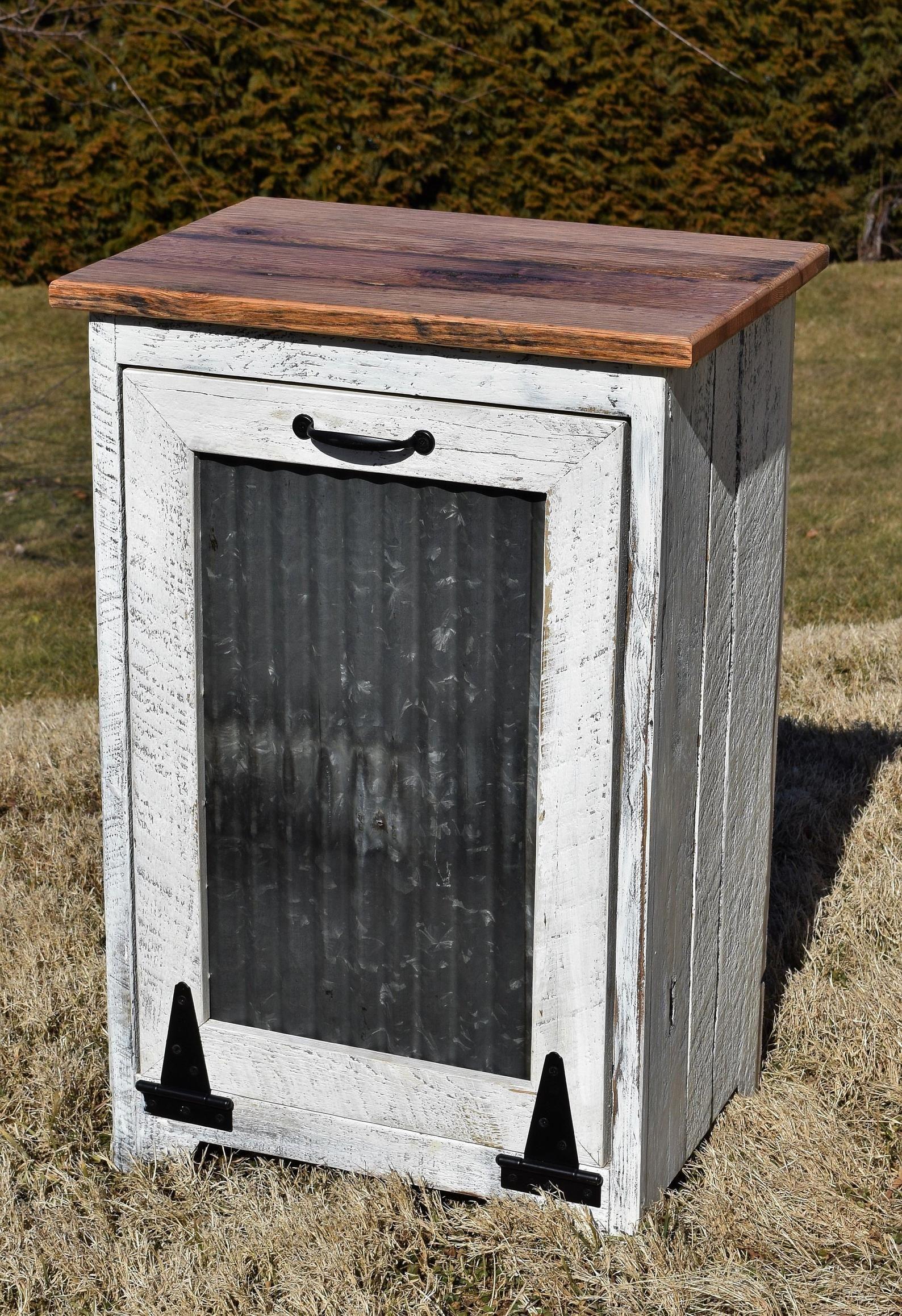 Reclaimed barn wood Distressed Trash Bin Wood Trash Bin Amish handmade