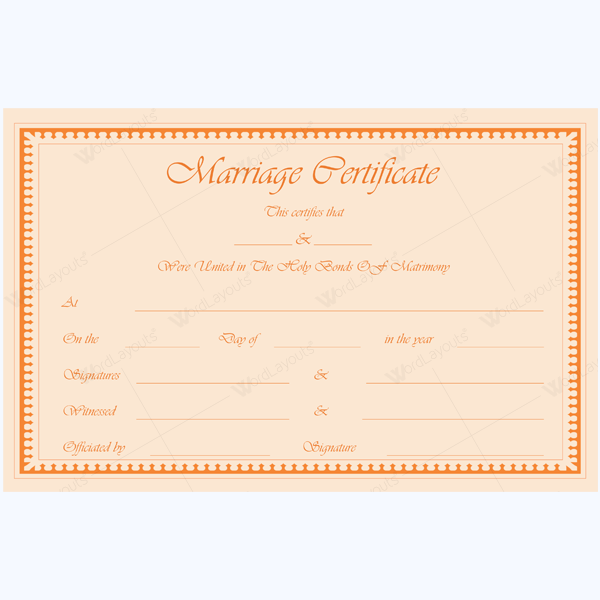 Printable Marriage Certificate Template Marriage Certificate