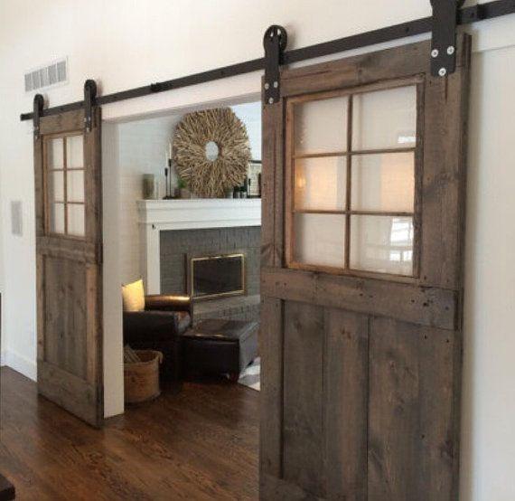 Custom barn door with windows multistain for by for Barn door window covering