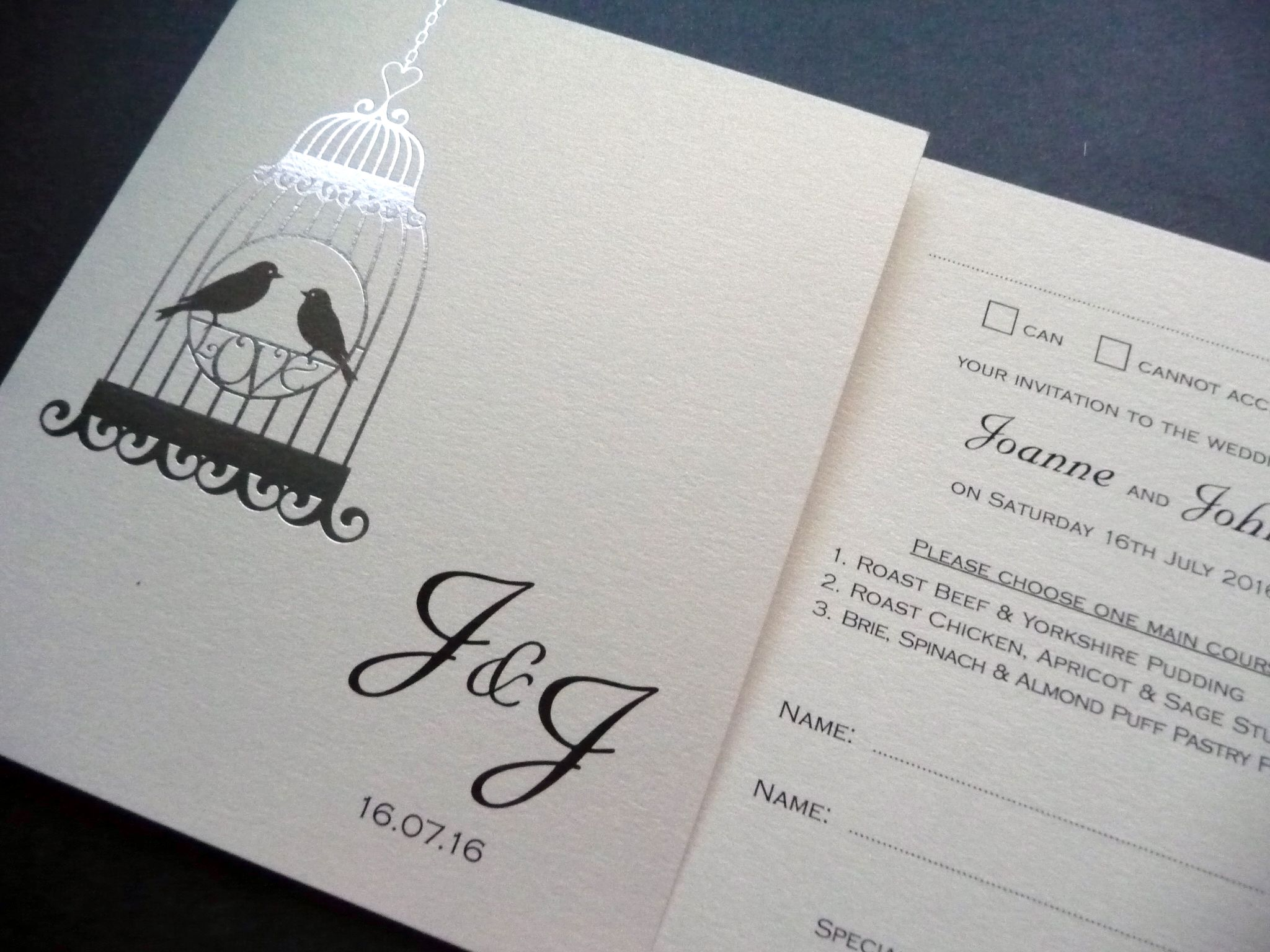 Foiled birdcage styled wedding invitation with a perforated RSVP ...