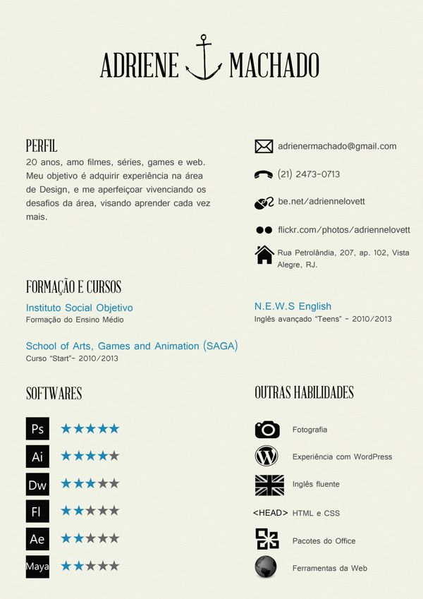 Hipster Resume by Adriene Machado, via Behance For more resume - wordpress resume template