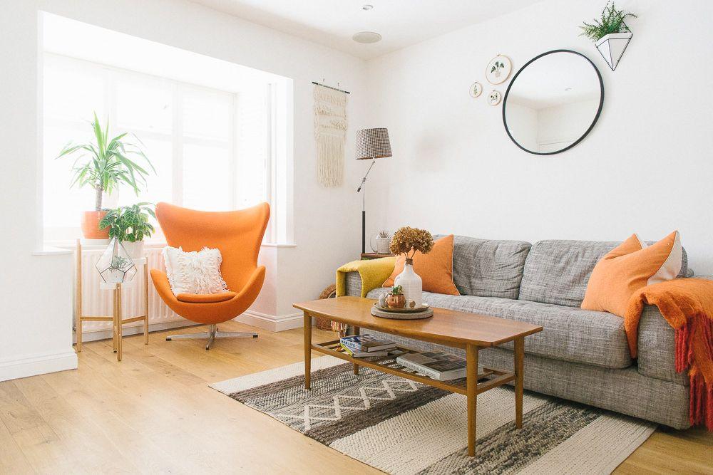 White Grey And Orange Living Room Boho Mid Century Style Home Living Room Orange Orange And Grey Living Room Decor Grey And Orange Living Room