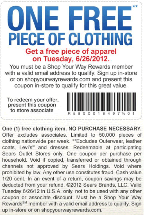 Free Piece Of Clothing Today At Sears Outlet No Purchase Necessary Coupon Apps Online Shopping Coupons Printable Coupons