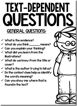 Text-Dependent Questions (free; from Freebielicious