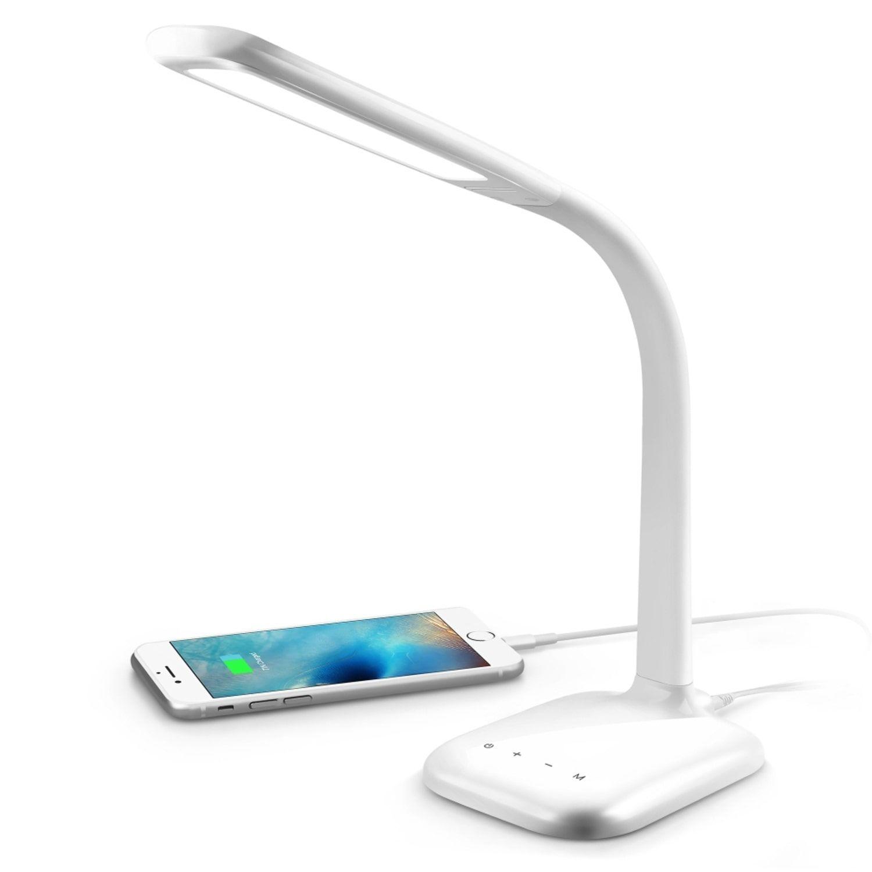 Innoka White Gooseneck Free Angle Rotation Desk Lamp with