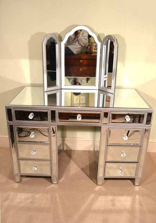 00914 Gorgeous Art Deco Mirrored Dressing Table With Mirror 1 Jpg
