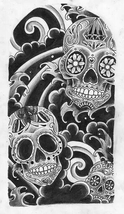 a3458275fa2da A mix of my fav tats. Japanese water and sugar candy skulls ...
