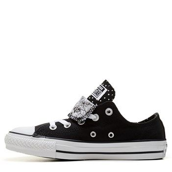 Black  Converse Chuck Taylor All Star Double Tongue Low Top Sneaker Black White Dot Flor