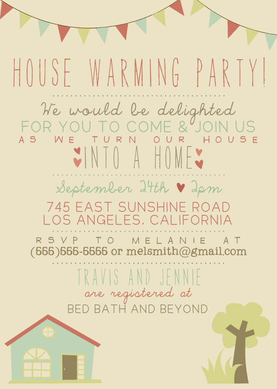 House Warming Party Invitation  Printable Custom Diy  Vintage