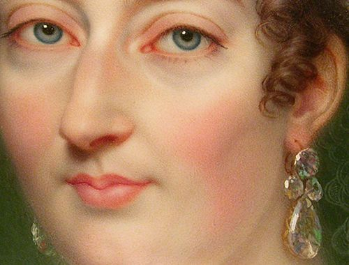 Detail of a miniature portrait of Marie-Thérèse Charlotte, the daughter of Marie Antoinette, by Jean-Baptiste Augustin. 19th century.