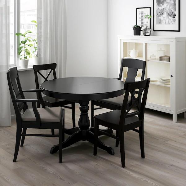 Ingatorp Extendable Table Black Max Length 61 Ikea Black Round Dining Table Black Kitchen Table Dining Table Black