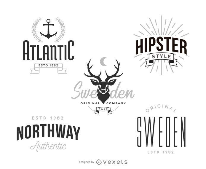 Set of vintage logo template designs in a hipster style. Each design features different typography styles, letterings, and more.