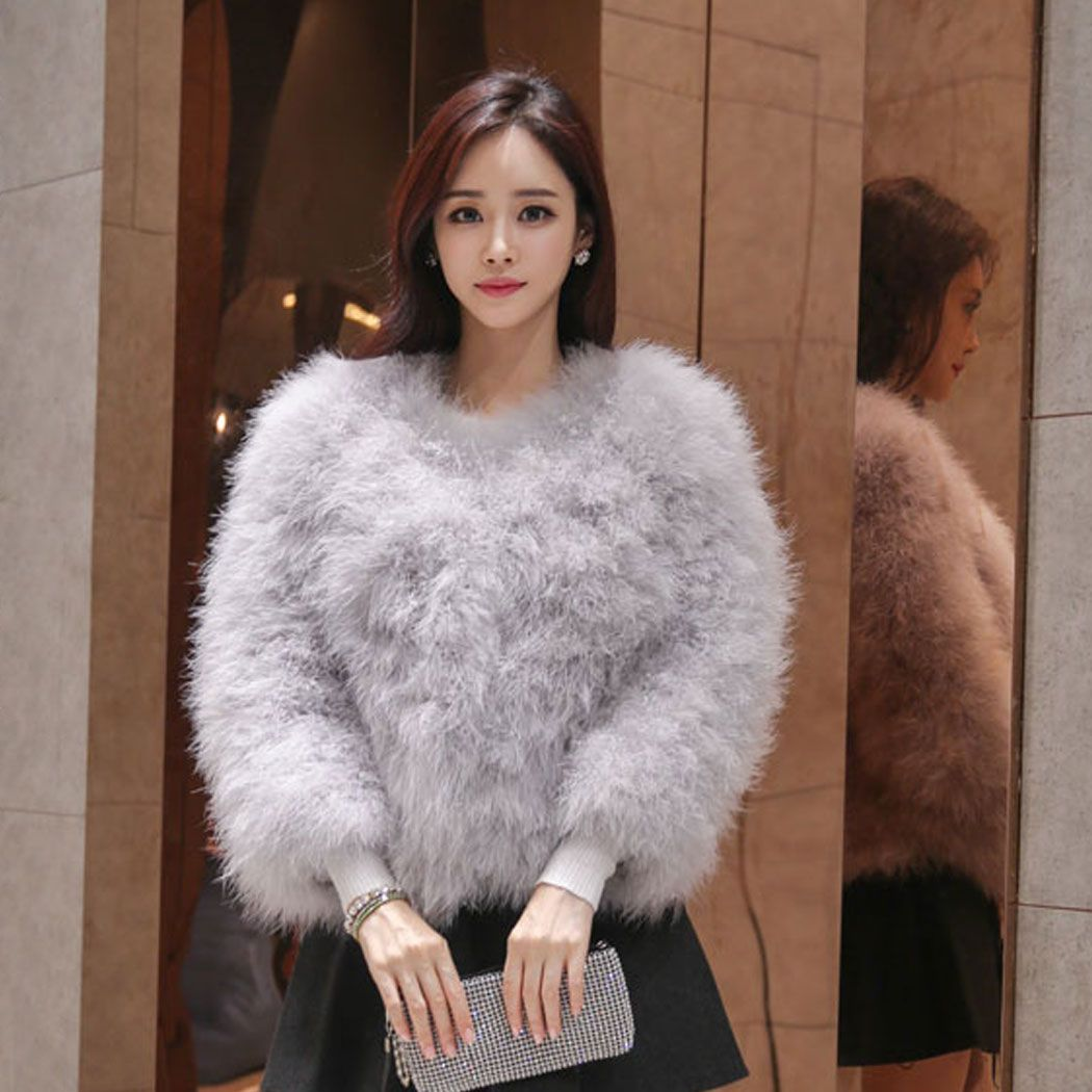 Hot Women Real Fur Ostrich Feather Fur Coat Jacket winter Fashion ...