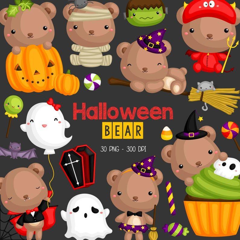 Halloween Bear Clipart Cute Animal Clip Art Holiday Etsy In 2021 Bear Clipart Clip Art Cute Animals