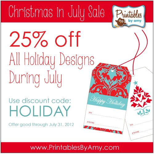 Christmas in July Sale on Printable Party Supplies #holidaysinjuly