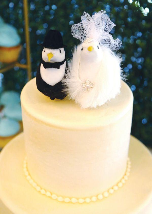 Romantic Vintage Inspired Wedding Ideas | Bird cake toppers, Bird ...