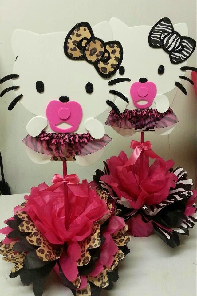 Baby shower ideas for cheetah hello kitty hello kittys for Animal print party decoration ideas