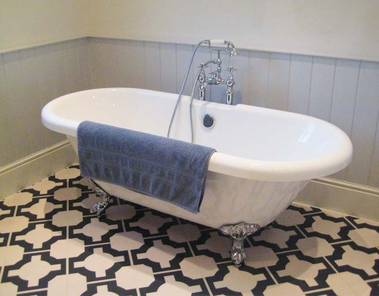 Black And White Vinyl Bathroom Flooring By Neisha Crosland