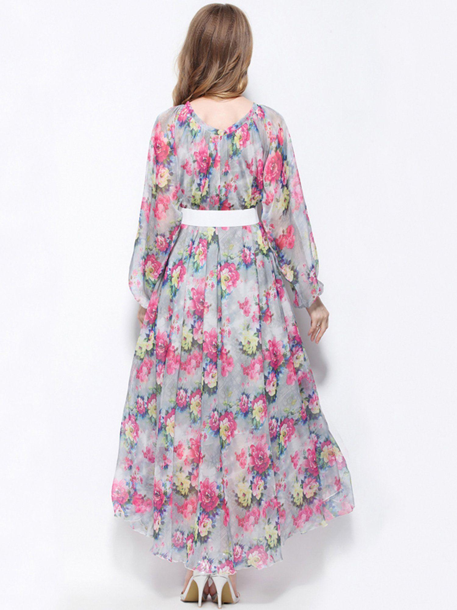 64d28dd2fb Medeshe Floral Long Sleeve Chiffon Celebrity/Graduation/Dinner Dress Beach  Bridesmaid Sundress Length: 115cm *** Want extra information? Click on the  photo.