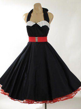 50s Style Tea Length Dresses-1950s Vintage Reproduction Black Halter Full Circle Swing Dress -50s Reproduction Dresses