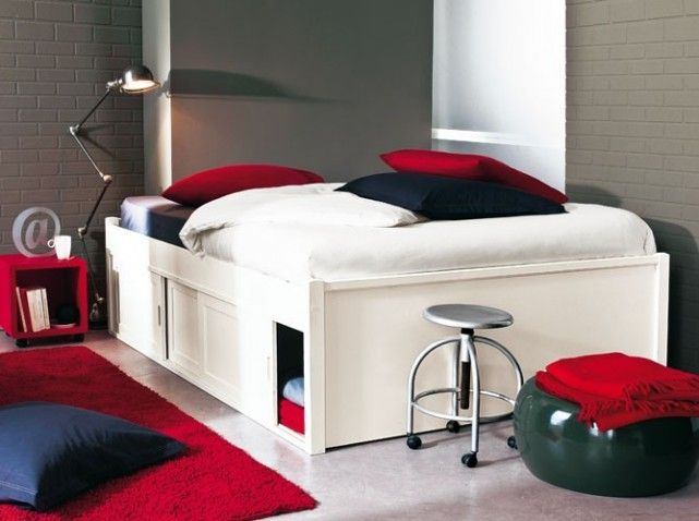 lit haut avec rangement maison design. Black Bedroom Furniture Sets. Home Design Ideas