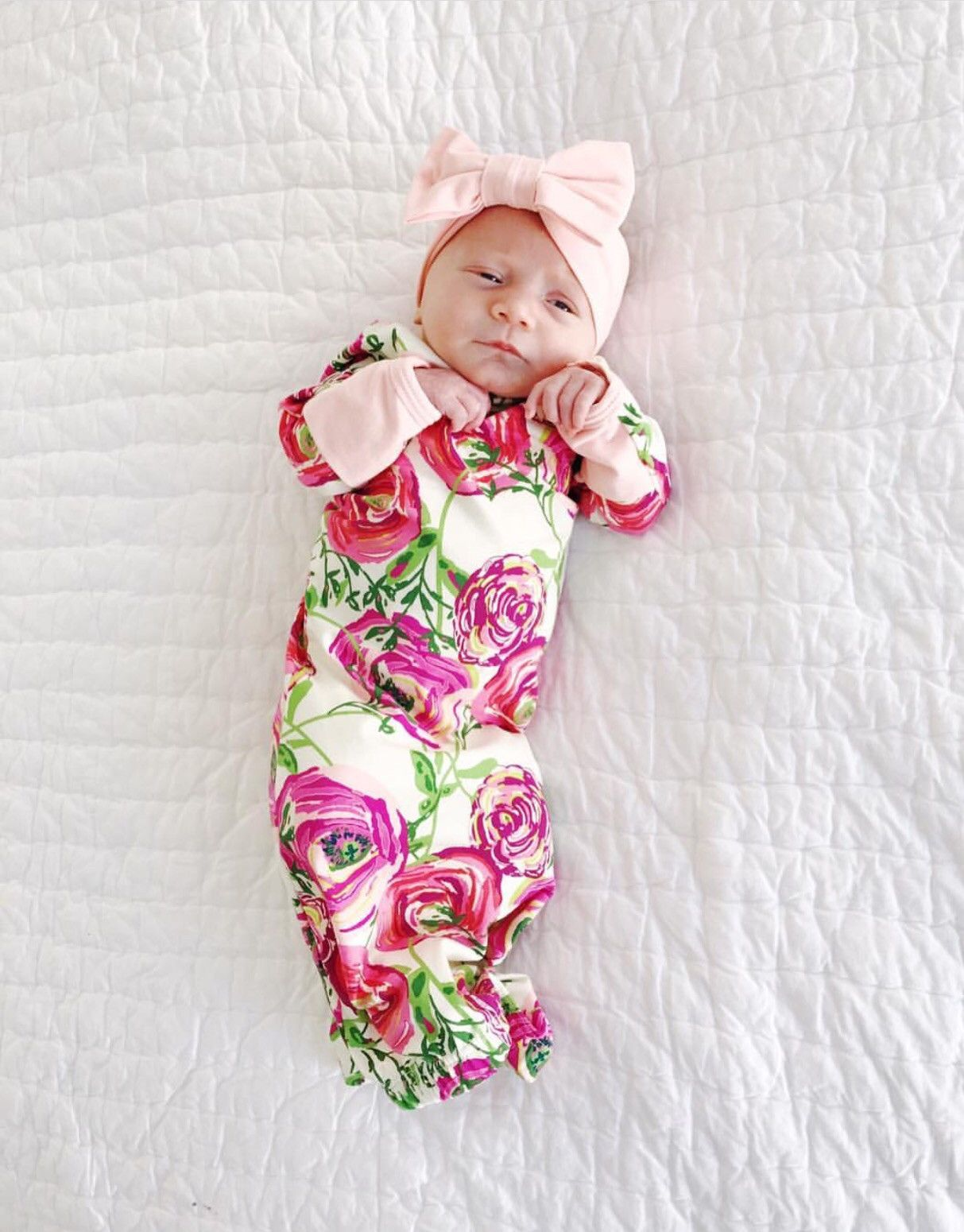 Secret Garden Layette Gown with Light Pink Accents | Pinterest ...
