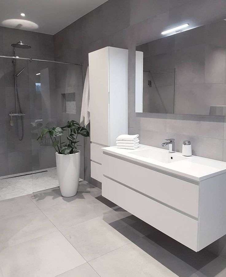 Come arredare il bagno con il grigio - Bagno in stile moderno ...