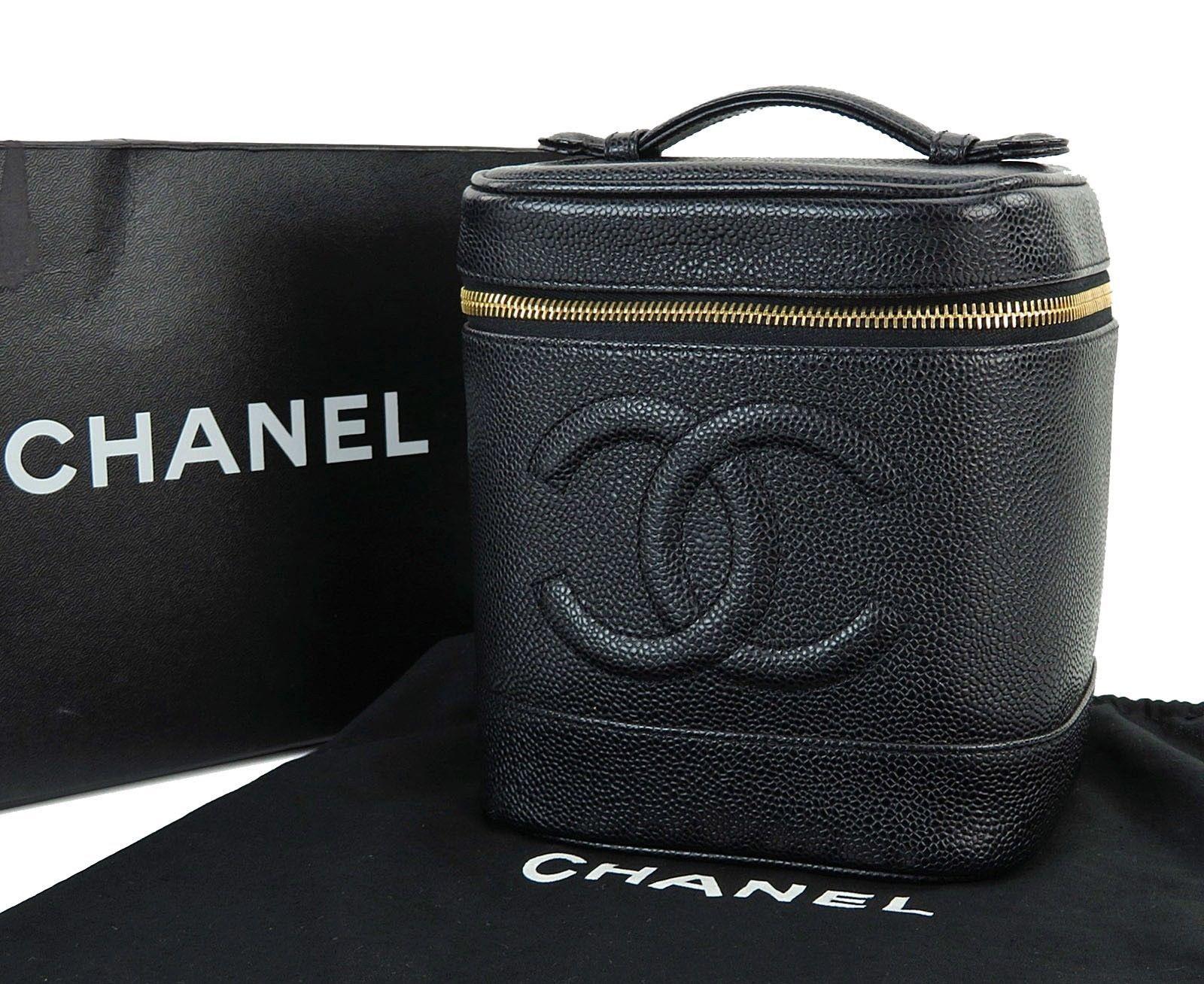 76e8e896a27558 Auth CHANEL Black Caviar Leather Cosmetics Pouch Vanity Case Travel Bag  #27311