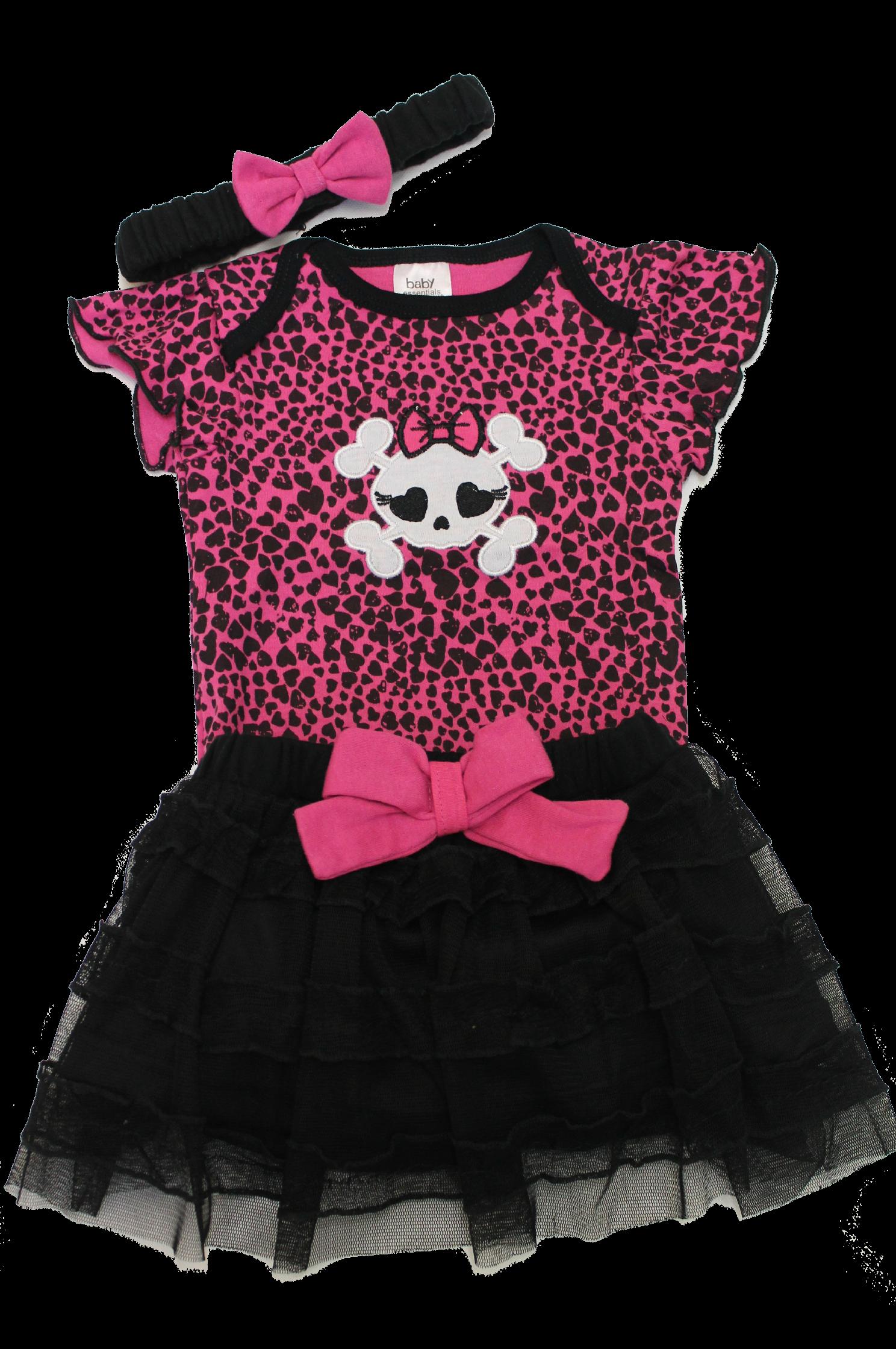 NEW Baby Girls Black White Nightmare B4 Xmas smock Dress Headband set Gift Goth