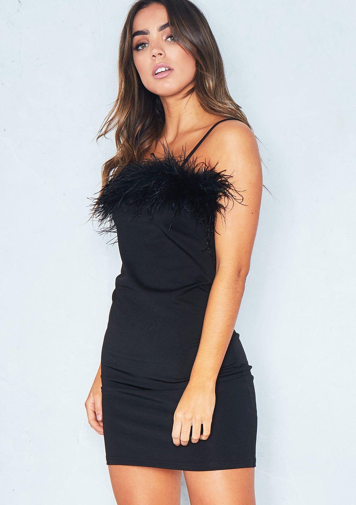 9946958d4f43 Eliana Black Feather Bust Strappy Mini Dress