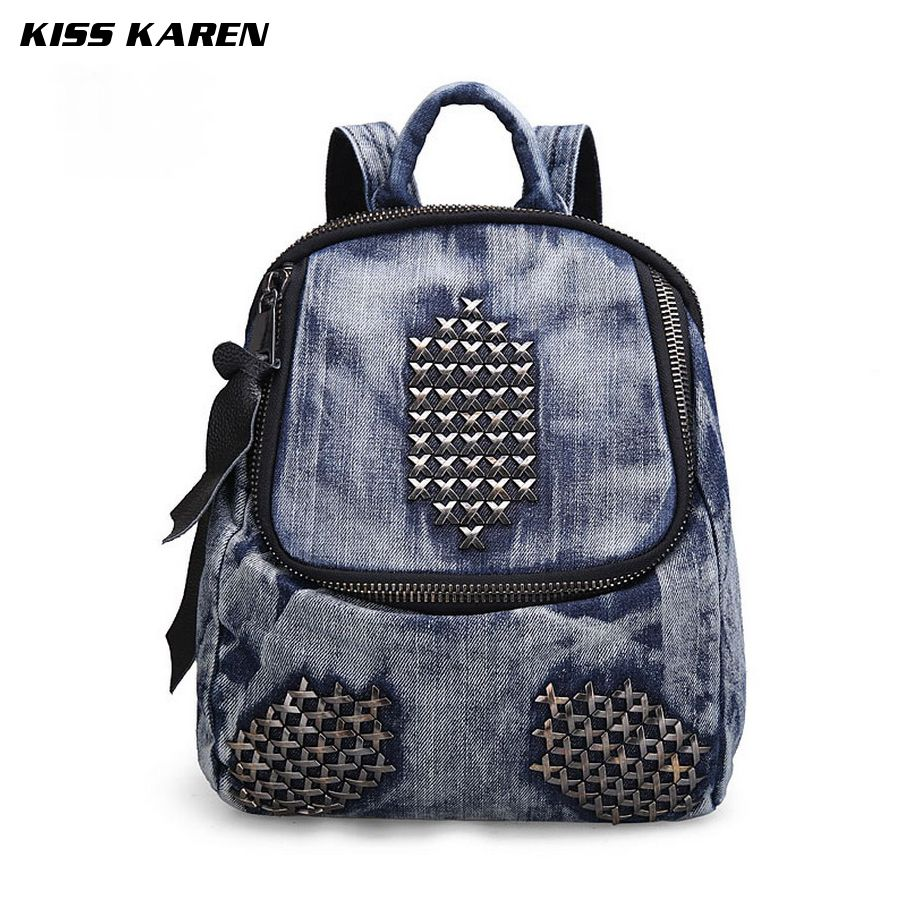 KISS KAREN Unique Rivets Fashion Design Jeans Denim Women s Backpacks Bag  Denim Backpack for Girls Casual be81caa644ae5