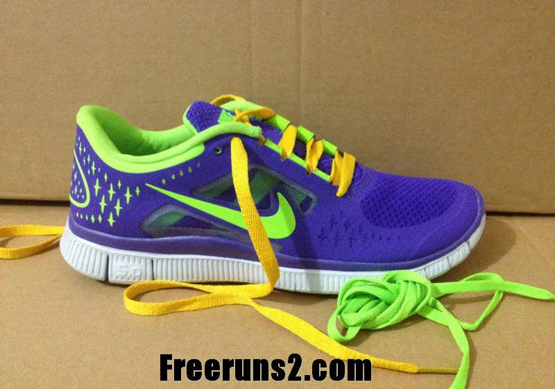 best sneakers 88715 cbe3a Womens Nike Free Run 3 Club Purple New Green Yellow Lace New Nike Frees  2013 Shoes
