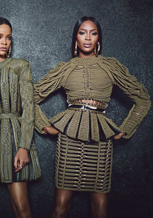 Naomi Campbell wearing Balmain for W Magazine September 2014 photographed by Emma Summerton