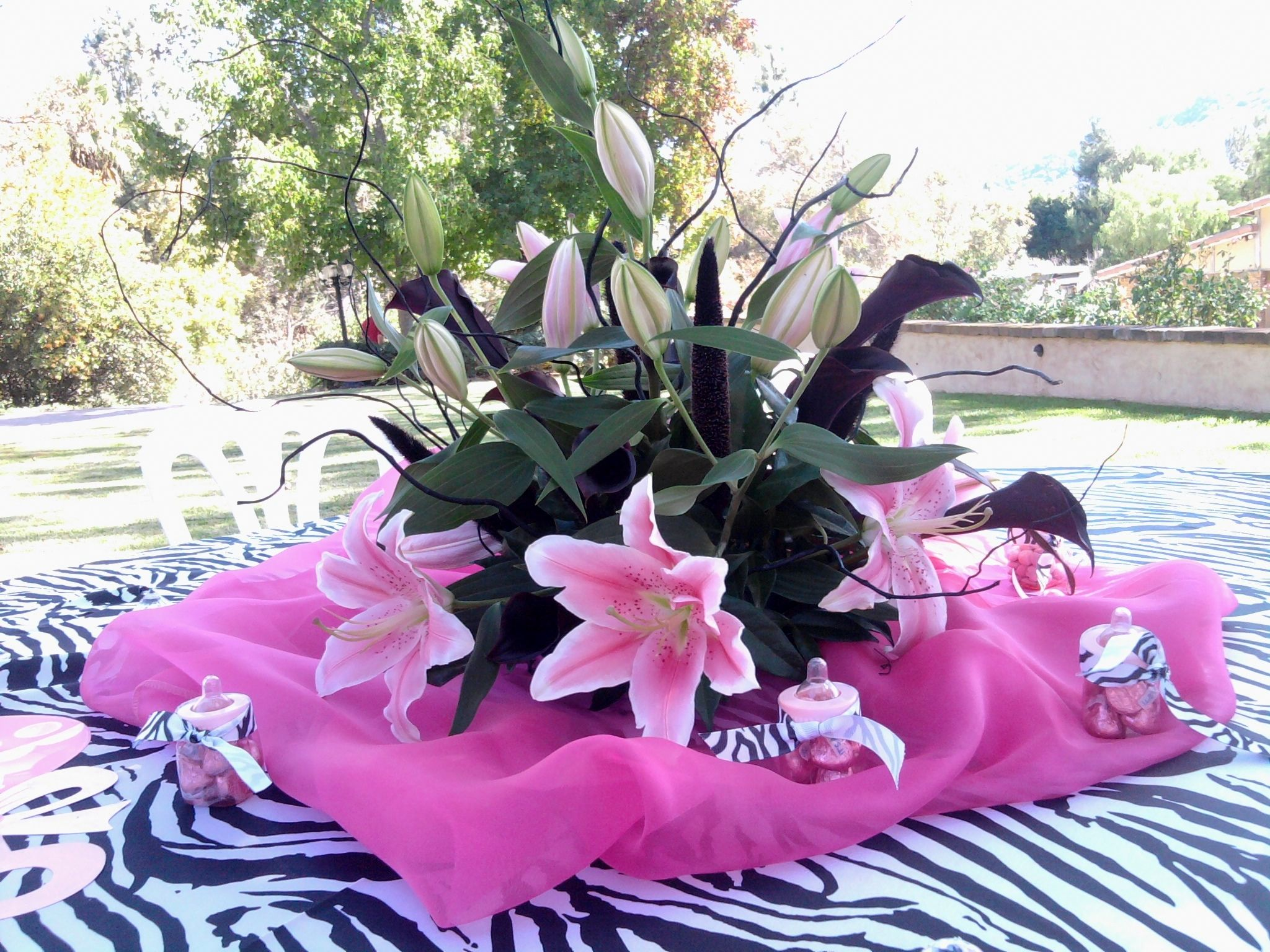 Baby Show Centerpiece Stargazer Lily Black Calla Lily Black Curly Willow Compliment This Zebra Pink Baby Show Black Calla Lily Baby Shower Pink Baby Shower