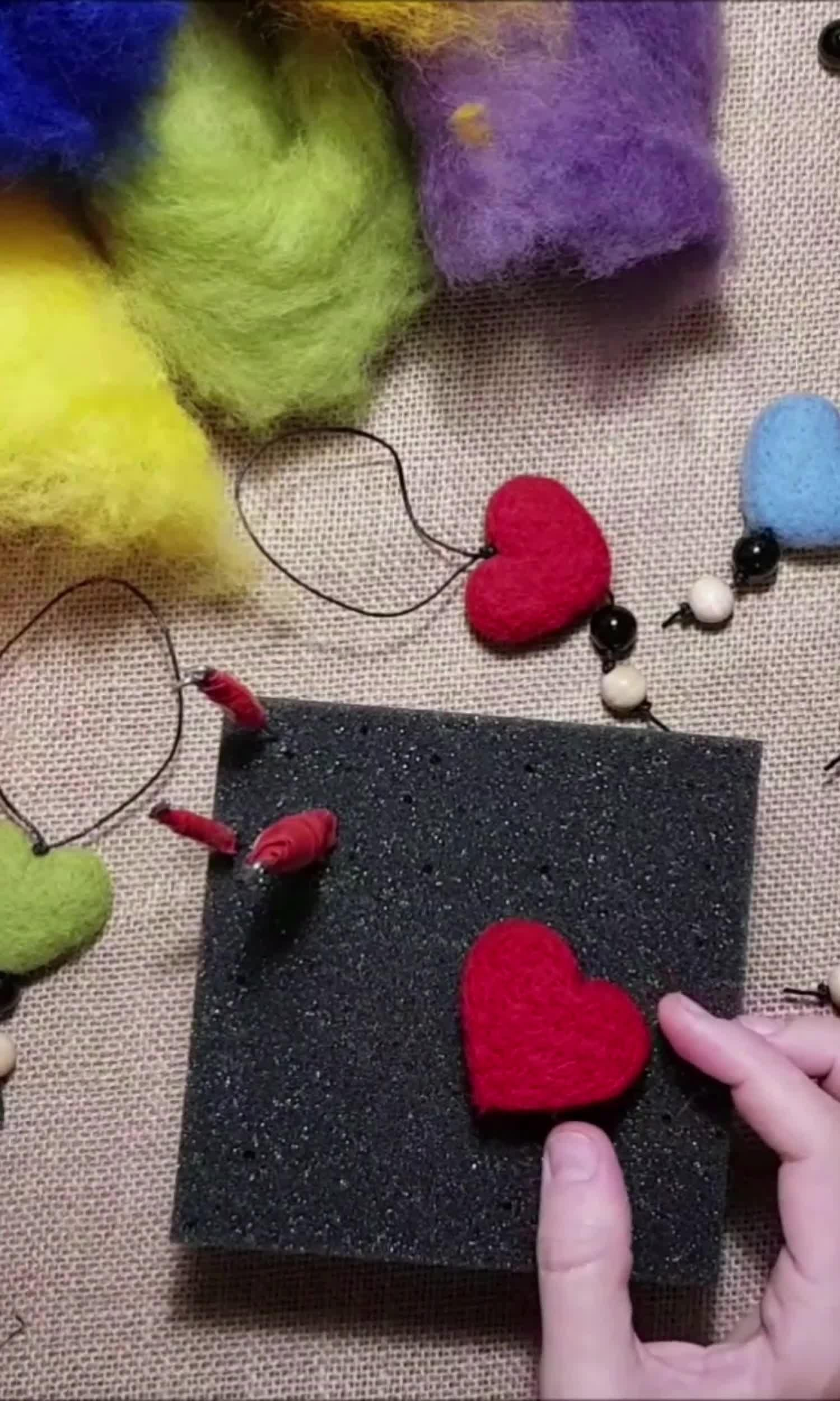 How to make needle felted hearts?